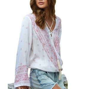 Elan BOHO Coral Stamped Cross Front Gypsy Top NWT